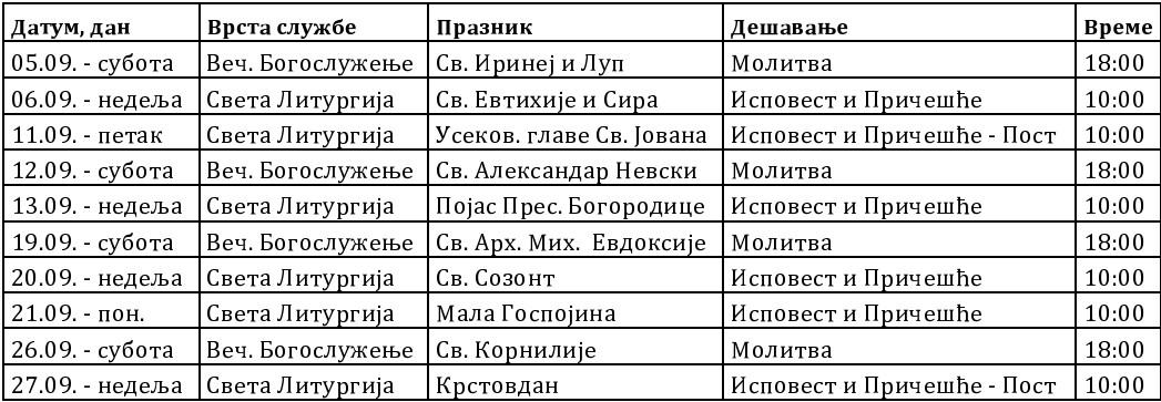 Raspored Bogosluzenja za septembar