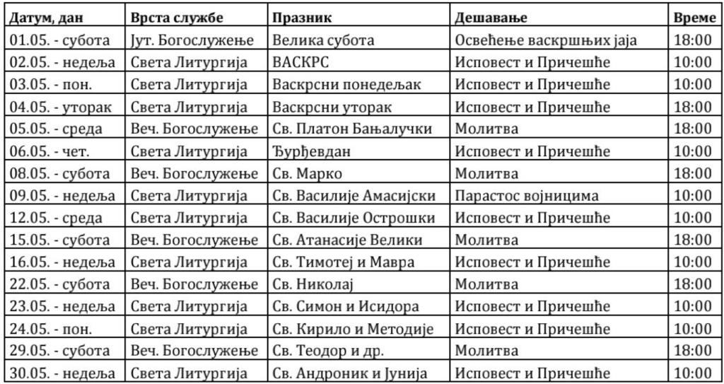 Raspored Bogosluženja maj 2021