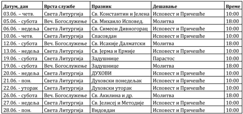 Raspored Bogosluženja jun 2021