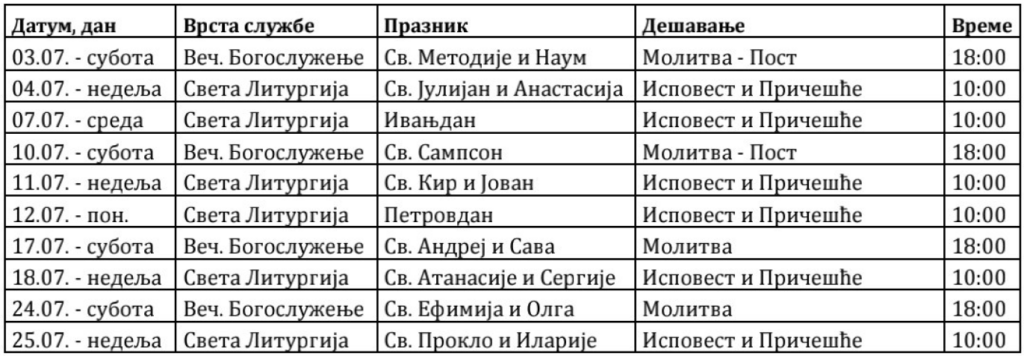 Raspored Bogosluženja jul 2021
