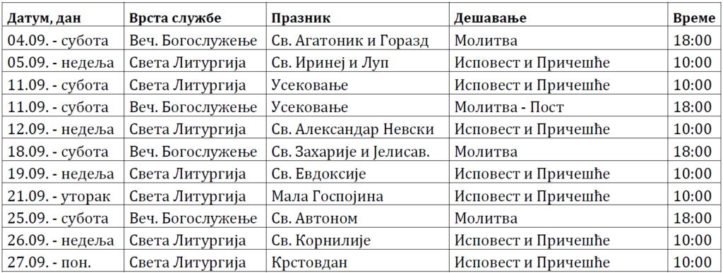 Raspored Bogosluženja septembar