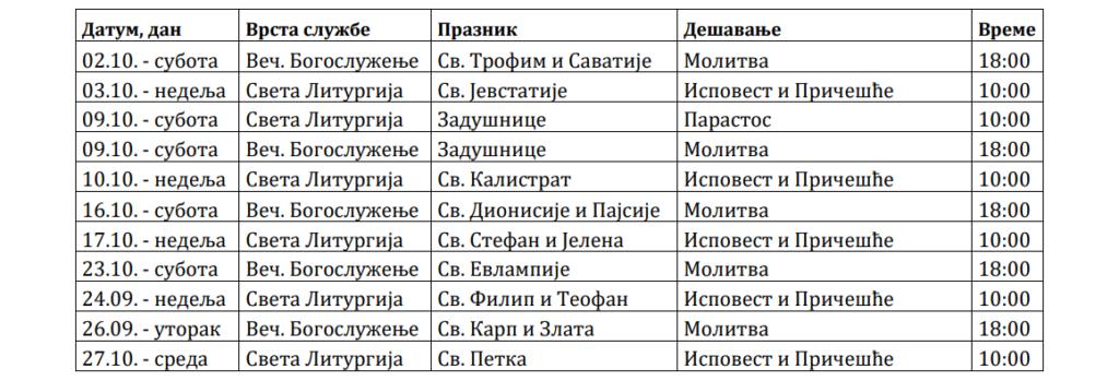Raspored Bogosluženja Oktobar